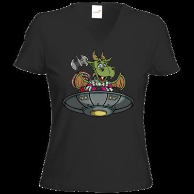 Motiv: T-Shirts Damen V-Neck FAIR WEAR - Space Drache im UFO