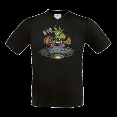 Motiv: T-Shirt V-Neck FAIR WEAR - Space Drache im UFO