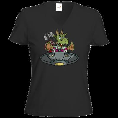 Motiv: T-Shirt Damen V-Neck Classic - Space Drache im UFO