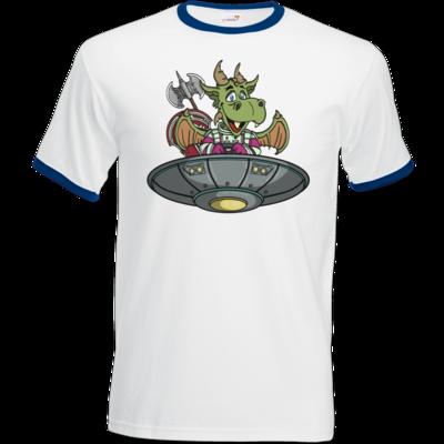 Motiv: T-Shirt Ringer - Space Drache im UFO