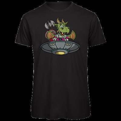 Motiv: Organic T-Shirt - Space Drache im UFO
