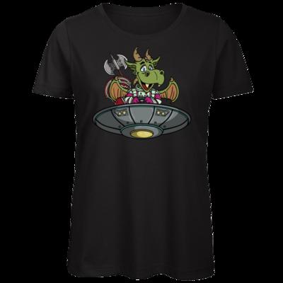 Motiv: Organic Lady T-Shirt - Space Drache im UFO