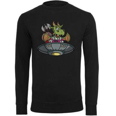 Motiv: Light Crew Sweatshirt - Space Drache im UFO