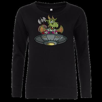 Motiv: Girlie Crew Sweatshirt - Space Drache im UFO