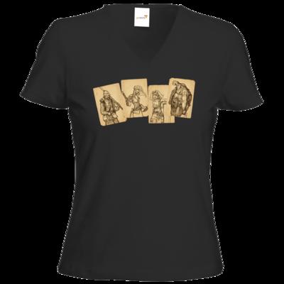 Motiv: T-Shirts Damen V-Neck FAIR WEAR - Robinson Crusoe - Karten