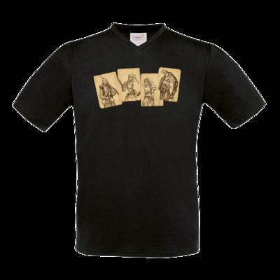 Motiv: T-Shirt V-Neck FAIR WEAR - Robinson Crusoe - Karten