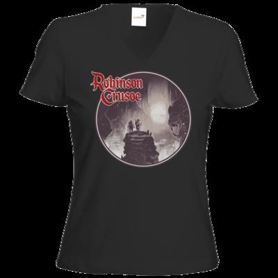 Motiv: T-Shirts Damen V-Neck FAIR WEAR - Robinson Crusoe - Logo