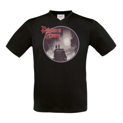 Motiv: T-Shirt V-Neck FAIR WEAR - Robinson Crusoe - Logo