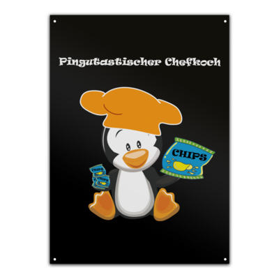Motiv: Metallschild - Chefkoch Pinguin