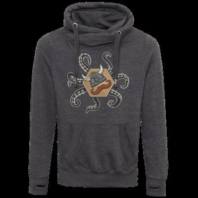 Motiv: Cross Neck Hoodie - Logo & Tentakel