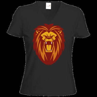 Motiv: T-Shirt Damen V-Neck Classic - Lion gelb