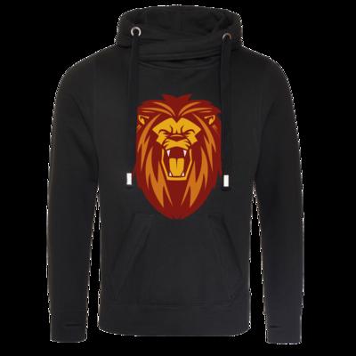 Motiv: Cross Neck Hoodie - Lion gelb