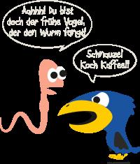 Fun - Vogel und Wurm koch Kaffee