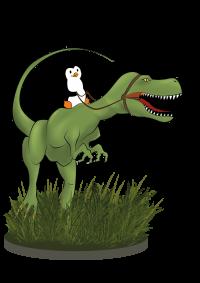 Pinguin reitet Dino bunt