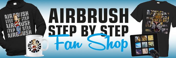 Airbrush Step by Step Fan Shop - Airbrush Step by Step - Das Magazin für alle Airbrush-Künstler. Im Fan Shop findet ihr alles um zu zeigen, dass ihr ein Airbrush-Fan und Anwender seid. Vom stylischen Shirt bis zum nützlichen Equipment.