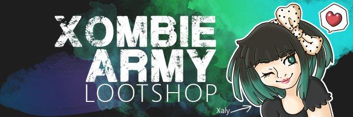 Xalys Xombie Army Lootshop - In Xalys Lootshop gibt es den fetzigsten Merch für stolze Mitglieder der Xombie Army, und die, die es werden möchten.