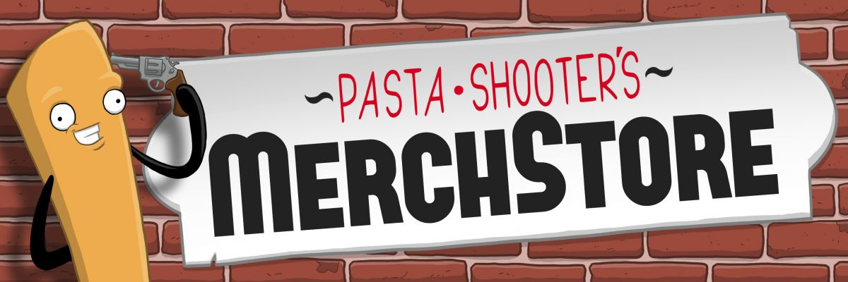 Pasta Shooter's MerchStore - Hereinspaziert! Treten Sie näher und sehen Sie sich ruhig um! Hier im Store finden Sie Merchandise rund um die berüchtigten Nudelcomics von Pasta Shooter!