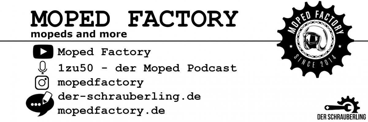 Moped Fashion aus der Moped Factory - Moped Factory - eine Gruppe von Moped Enthusiasten, die ihre Moped Fashion unters Volk bringen möchten. Viel mehr als nur Merch. Hier bekommst du echte Retro - Motive, von uns mit viel Liebe zum Thema designed und ein Muss für jeden oldschool Moped Fahrer!